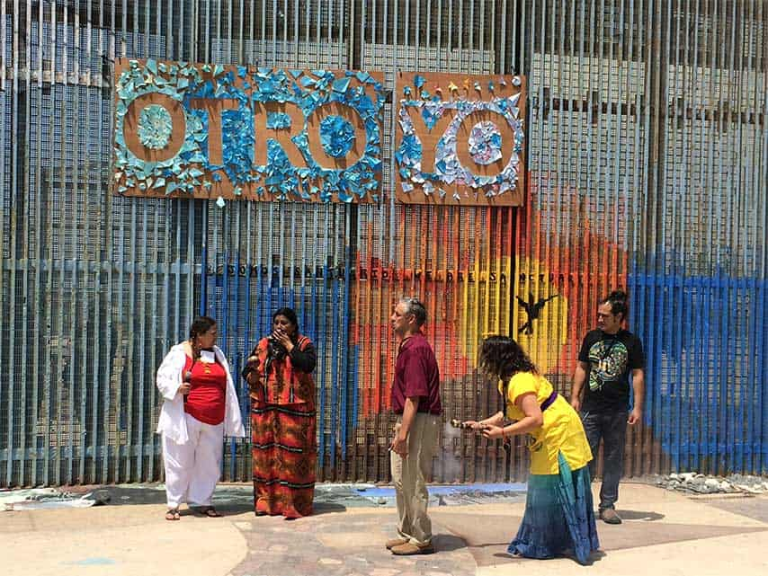 Norma Meza, an indigenous activist, offered a native welcome ceremony before Pendulo Cero Danza Contemporánea, performing a site-specific version of Bodies are not Borders in front of the Friendship Park fence